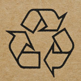Recycling Mark on Cardboard Royalty Free Stock Photography