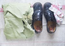 Recycling material, old clothes and shoes, free copy space Stock Photography