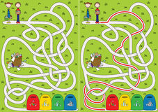 Recycling maze. For kids with a solution vector illustration