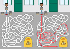 Recycling maze. For kids with a solution royalty free illustration