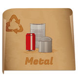 Recycling metal memo. /Retro recycling banner with metal cans Royalty Free Stock Images