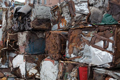 Recycling of metals. Pressed and rust Stock Photography