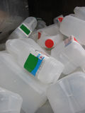 Recycling milk containers. Plastic milk containers to be recycled Stock Photo