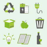 Recycling nature icons waste sorting environment creative protection symbols vector illustration. Royalty Free Stock Photo