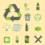 Recycling nature icons waste sorting environment creative protection symbols vector illustration. Royalty Free Stock Image
