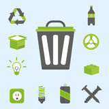 Recycling nature icons waste sorting environment creative protection symbols vector illustration. Recycling sorting nature icons waste sorting environment Royalty Free Stock Image
