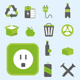 Recycling nature icons waste sorting environment creative protection symbols vector illustration. Recycling sorting nature icons waste sorting environment Stock Photography