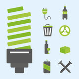 Recycling nature icons waste sorting environment creative protection symbols vector illustration. Royalty Free Stock Photography
