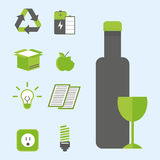 Recycling nature icons waste sorting environment creative protection symbols vector illustration. Royalty Free Stock Photos