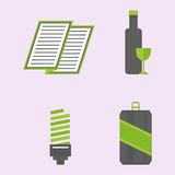 Recycling nature icons waste sorting environment creative protection symbols vector illustration. Recycling sorting nature icons waste sorting environment Royalty Free Stock Photo