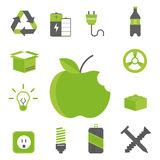 Recycling nature icons waste sorting environment creative protection symbols vector illustration. Recycling sorting nature icons waste sorting environment Stock Images