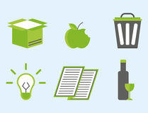 Recycling nature icons waste sorting environment creative protection symbols vector illustration. Royalty Free Stock Images