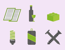 Recycling nature icons waste sorting environment creative protection symbols vector illustration. Recycling sorting nature icons waste sorting environment Stock Photos