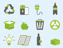 Recycling nature icons waste sorting environment creative protection symbols vector illustration. Stock Images