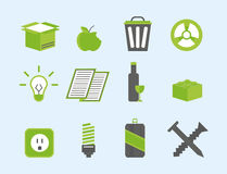 Recycling nature icons waste sorting environment creative protection symbols vector illustration. Recycling sorting nature icons waste sorting environment Stock Image