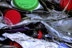 Recycling of old plastic bottles. Showing issue of mass consumption and the need for ecology Royalty Free Stock Photo