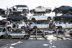 Recycling of old,used, wrecked cars. Dismantling for parts at scrap stock photo