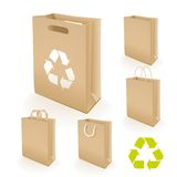 Recycling paper bag. Illustration set of recycled paper bags that do not cause harm to the environment with recycling sign Stock Images