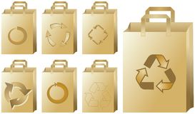 Recycling paper bags. A set of recycling paper bags with different recycle symbols Royalty Free Stock Photography