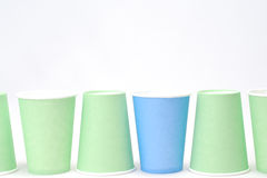 Recycling paper glass. Row of recycling paper glass Royalty Free Stock Image