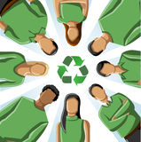 Recycling people. Eco illustration of a circle of people in green clothes and recycling icon Royalty Free Stock Photos