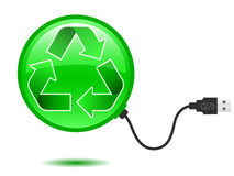 Recycling pictogram with USB plug. Green recycling pictogram with USB plug stock illustration