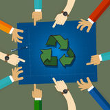 Recycling plan strategy on environmentally friendly sketch on blueprint paper. people discussing together hand pointing. As a team vector Stock Images