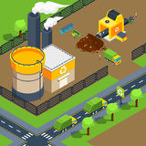 Recycling Plant Isometric Poster Stock Image