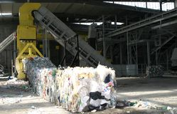 Recycling plant in mallorca. Blocks of packed rubbish before their reduction process in a recycling plant in the spanish island of mallorca royalty free stock photography