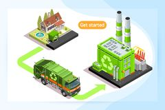 Recycling plant and waste truck. Isometric truck caring waste. Can use for web banner, infographics, hero images. Flat isometric vector illustration isolated Royalty Free Stock Image