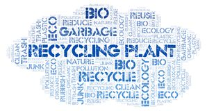 Recycling Plant word cloud. Wordcloud made with text only stock image