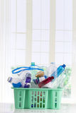Recycling plastic basket filled with  containers isolated on white Stock Images