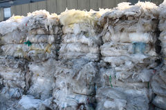 Recycling of plastic. Blocks of plastic weiting for a recycling stock photography