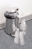 Recycling Plastic Bottles. In Small Trash Can Royalty Free Stock Image