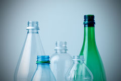 Recycling plastic bottles. Shallow depth of field, copy space Stock Photos