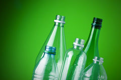 Recycling plastic bottles. Shallow depth of field, copy space Royalty Free Stock Image