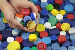Recycling  plastic caps Stock Photo