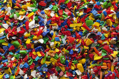 Recycling Plastic. Colorful recycled plastic flakes background Royalty Free Stock Image