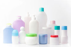 Recycling plastic containers. Group of blank beauty products. different shapes and sizes Stock Photo