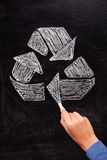 Recycling: Recycle sign on blackboard Stock Image