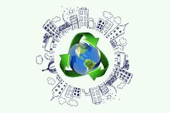 Recycling. Environment  symbol earth globe three-dimensional shape render royalty free illustration