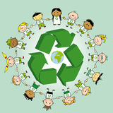 Recycling ring. Kids holding hands around a recycle symbol and the earth Stock Photography