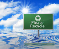 Recycling Road Sign in Flooded Area Stock Images