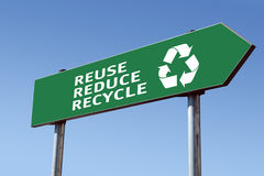 Recycling roadsign Stock Image
