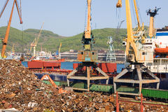 Recycling of scrap metal at seaport Stock Image