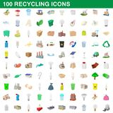 100 recycling set, cartoon style. 100 recycling set in cartoon style for any design illustration royalty free illustration