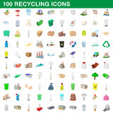 100 recycling set, cartoon style. 100 recycling set in cartoon style for any design vector illustration Stock Illustration