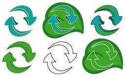Recycling - Set of Green Blue Arrows Stock Images