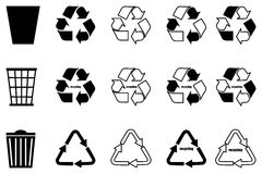 Recycling set,trash can,. Trash can, recycle icon, recycling set Stock Images