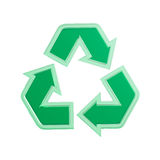 Recycling Sign. Green translucent recycling sign 3D illustration isolated on white background Stock Images